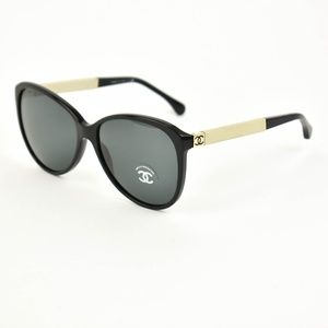 CHANEL: Black & Beige, Leather & CC Sunglasses hf